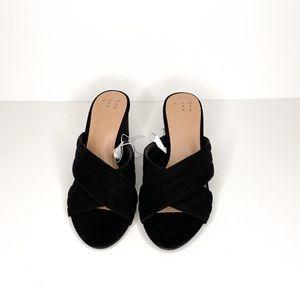A New Day Velvet Sandals Block Heel Size 6W New